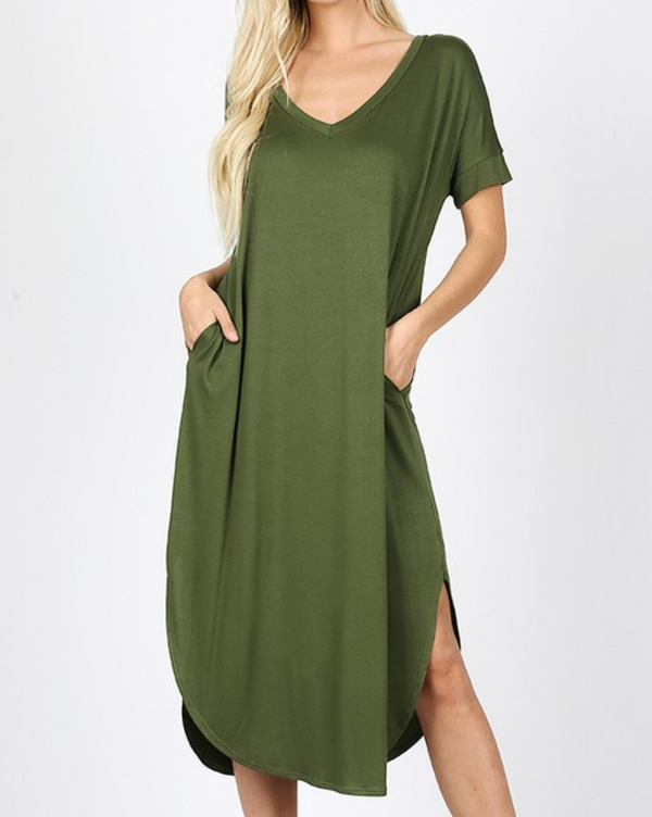 Short Sleeve Below the Knee Dress - S / ARMY GREEN ShopatGrace.com