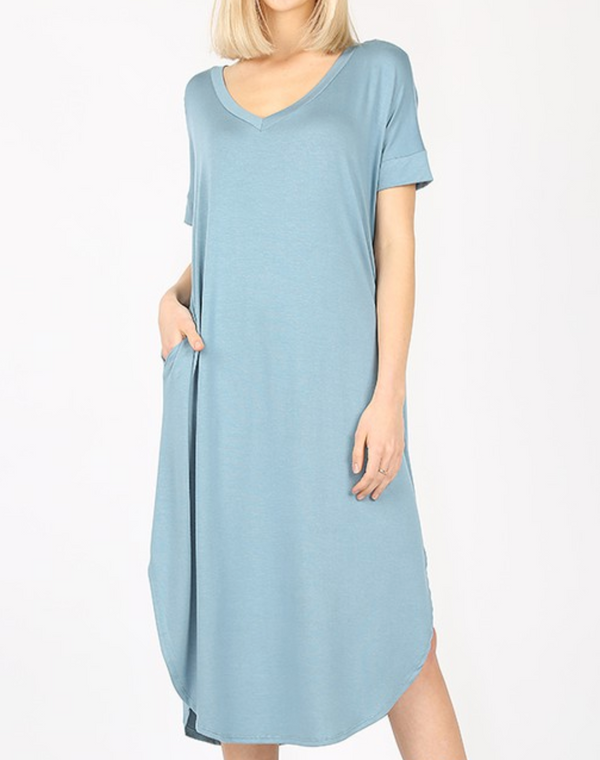 Short Sleeve Below the Knee Dress - S / BLUE GREY ShopatGrace.com