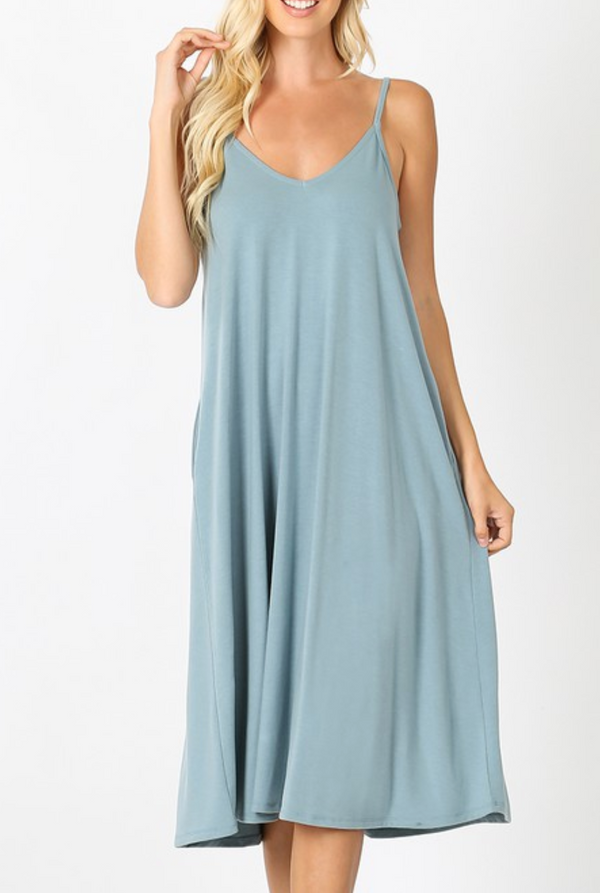 Spaghetti Strap V neck dress - Small / Blue Grey ShopatGrace.com
