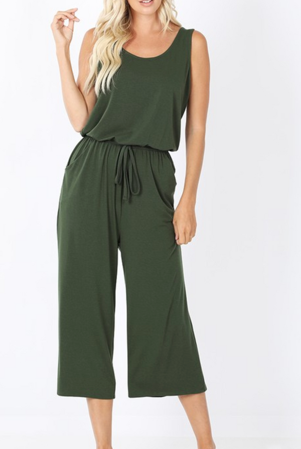 Sleeveless Jumpsuit - S / Army Green ShopatGrace.com