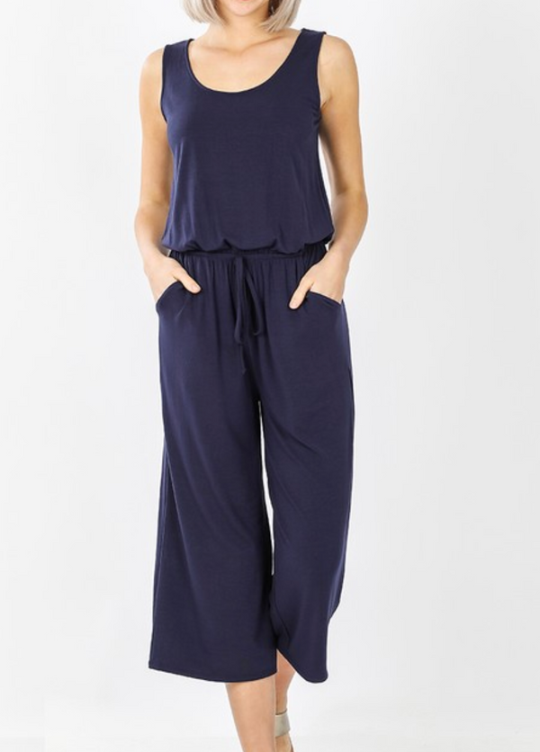 Sleeveless Jumpsuit - S / NAVY ShopatGrace.com