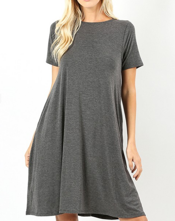 Round Neck Short Sleeve Dress - S / Charcoal ShopatGrace.com