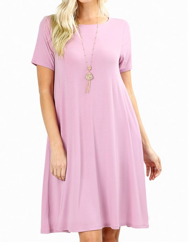 Round Neck Short Sleeve Dress - S / Mauve ShopatGrace.com