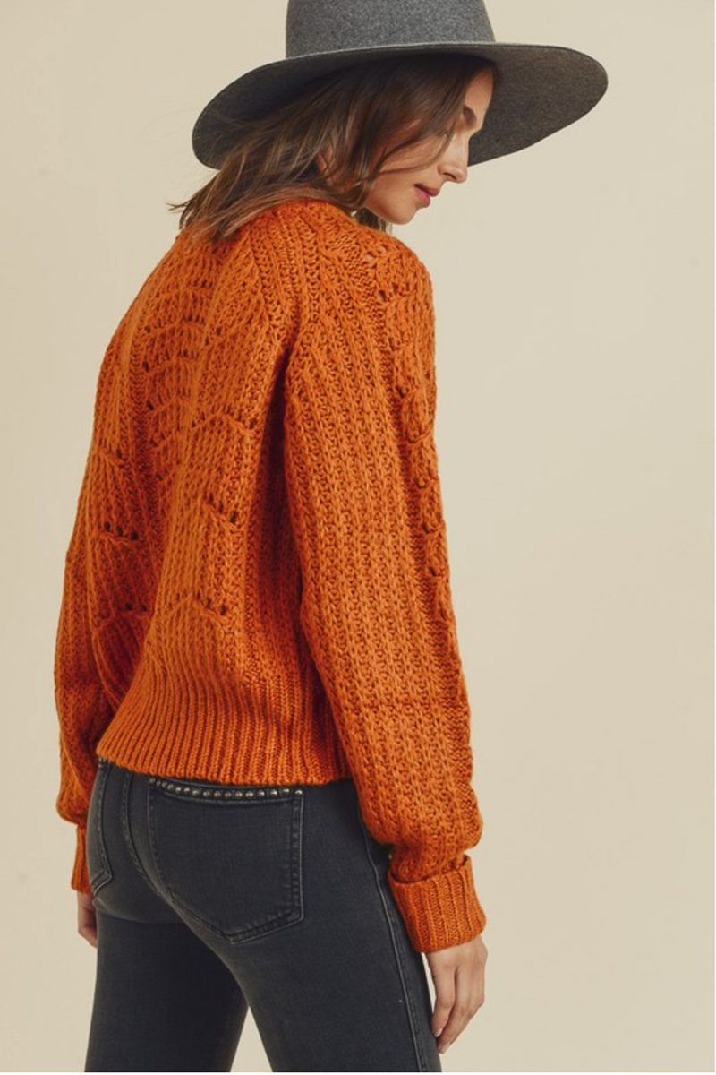 Knit Sweater with Pointelle Accents -  ShopatGrace.com