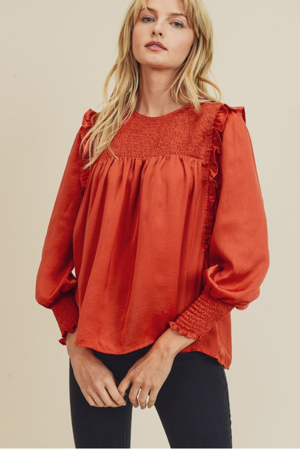 Smocked Sateen Blouse -  ShopatGrace.com