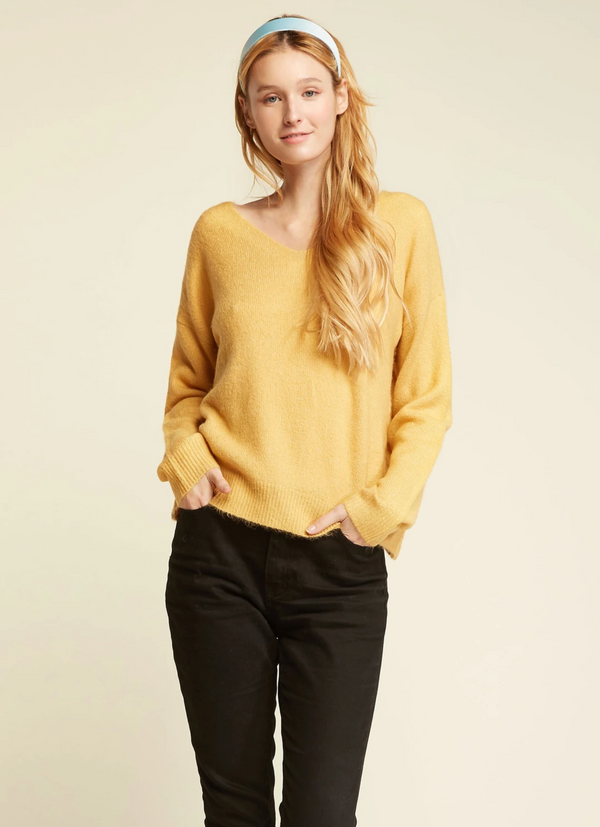 Basic V-Neck Sweater - OS / YELLOW ShopatGrace.com