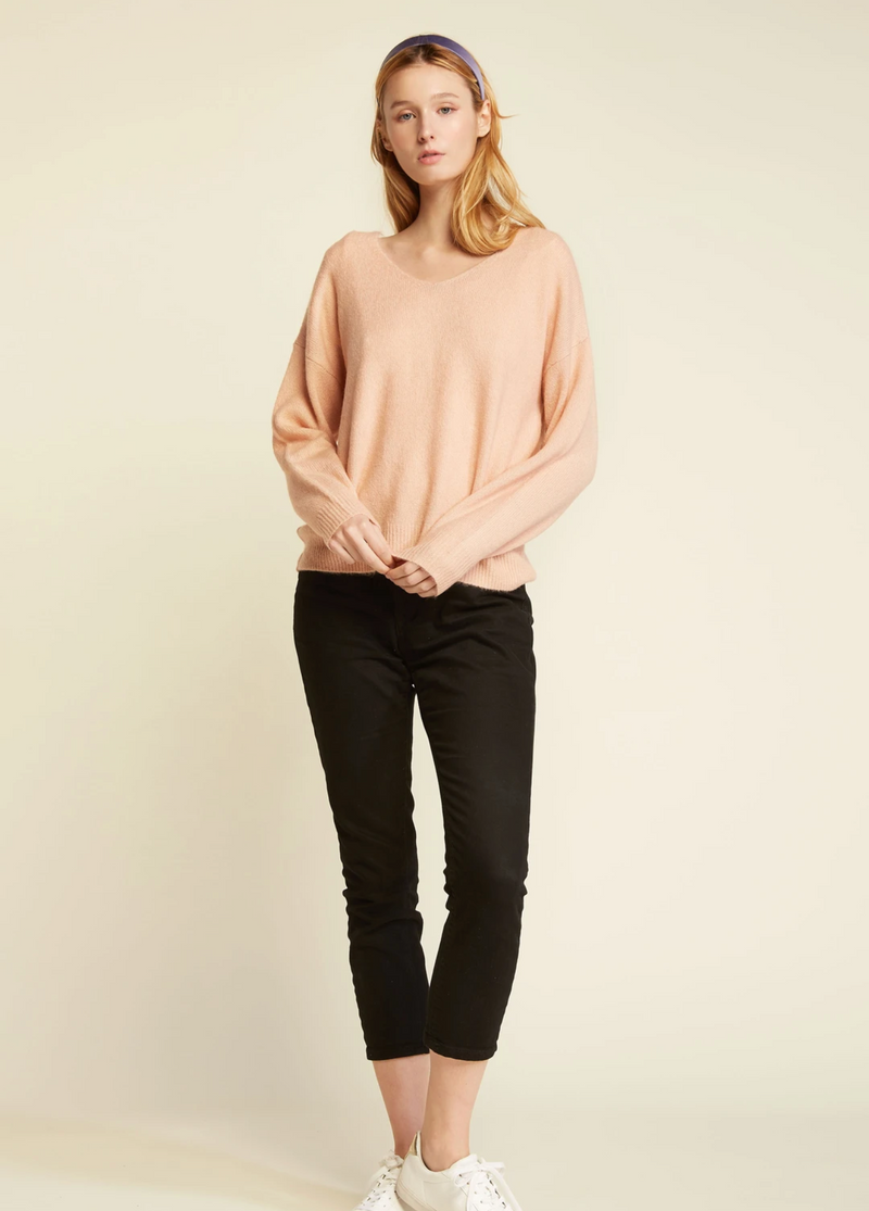 Basic V-Neck Sweater - OS / PINK ShopatGrace.com