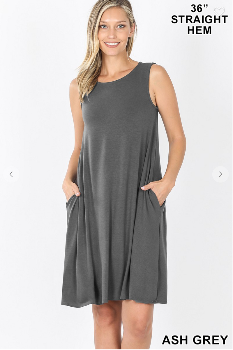 Sleeveless Dress with Straight Hem - ASH GREY / S ShopatGrace.com