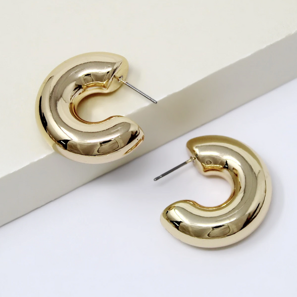 Puffed Hoop Earrings -  ShopatGrace.com