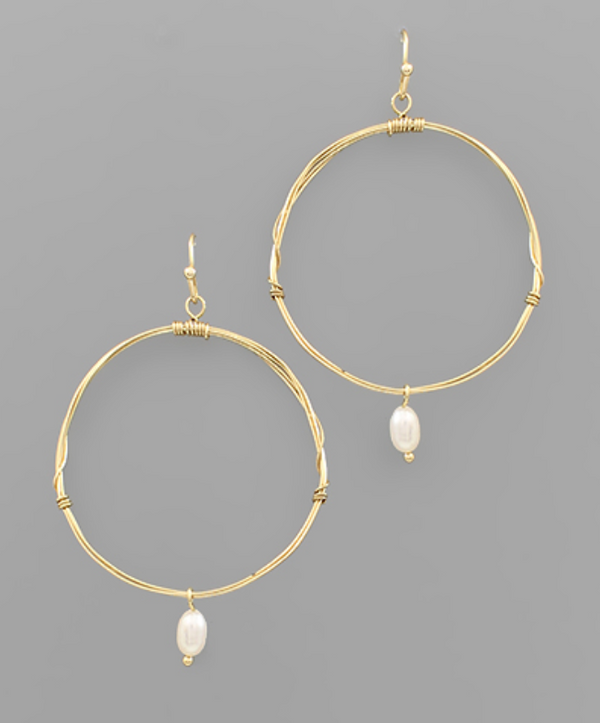 Wire Circle Earring with Pearl -  ShopatGrace.com