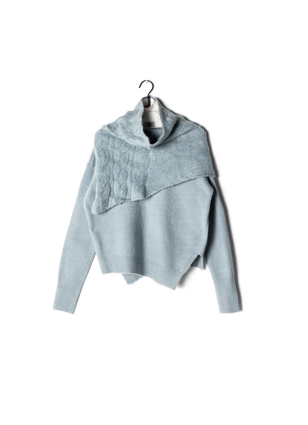 Cable Knit Neck Warmer Sweater - OS / MINT ShopatGrace.com