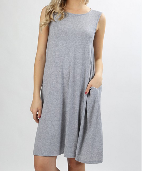 Sleeveless Dress with Straight Hem - Heather Grey / S ShopatGrace.com
