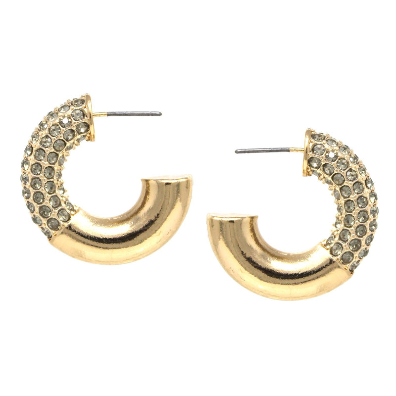 Half Rhinestone Pave Hoops - 30mm / Black ShopatGrace.com