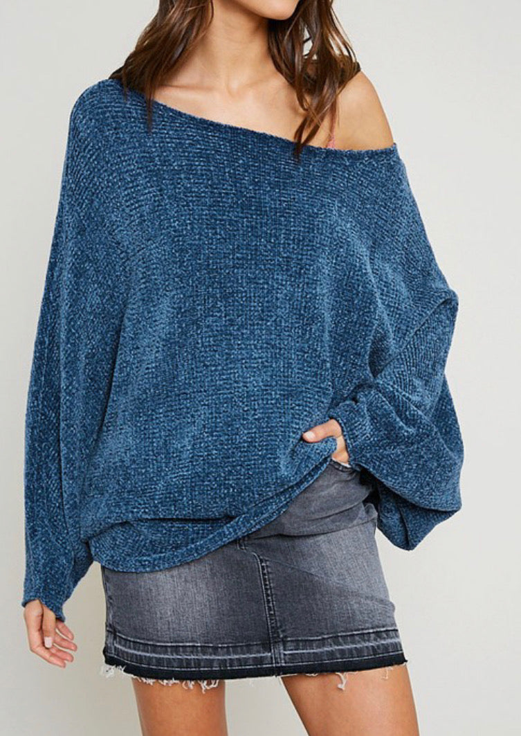Off Shoulder Chenille Sweater