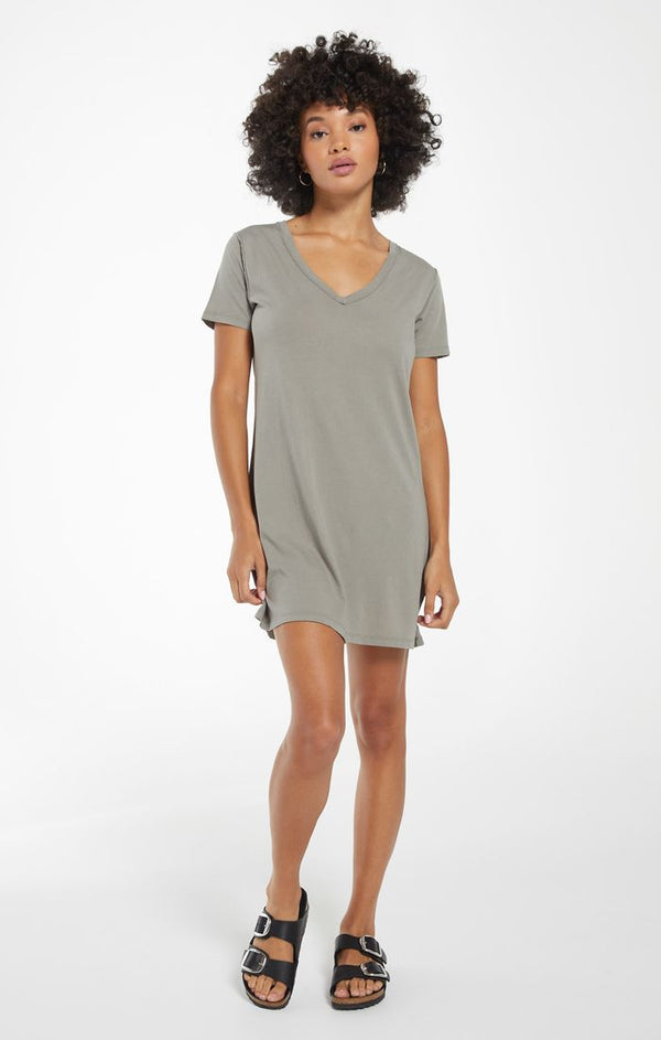 Organic Cotton T-shirt Dress - XS / DUSTY SAGE ShopatGrace.com