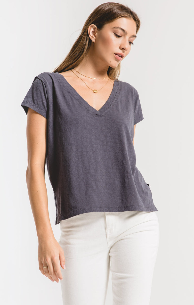 Cotton Slub Easy V-Neck Tee - OMBRE BLUE / XS ShopatGrace.com