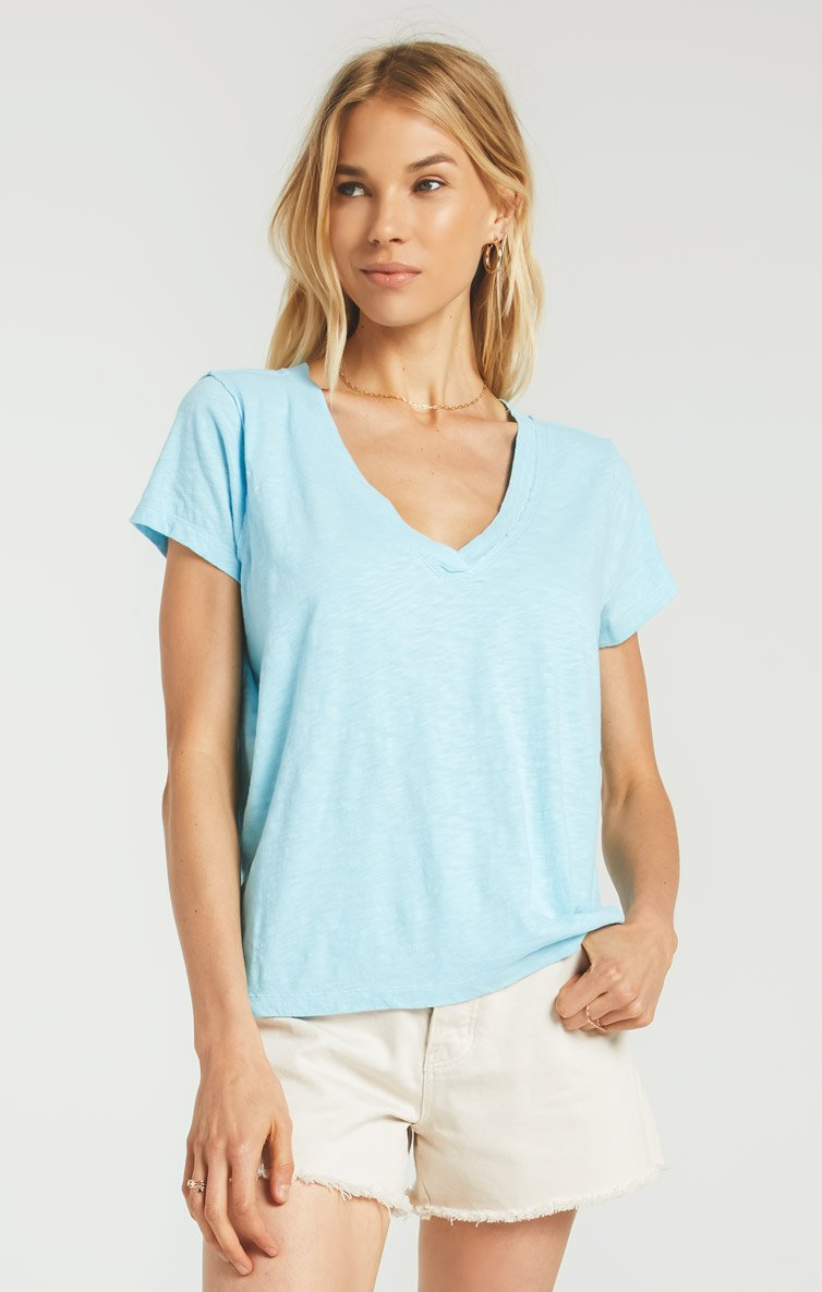 Cotton Slub Easy V-Neck Tee - POOLSIDE BLUE / XS ShopatGrace.com