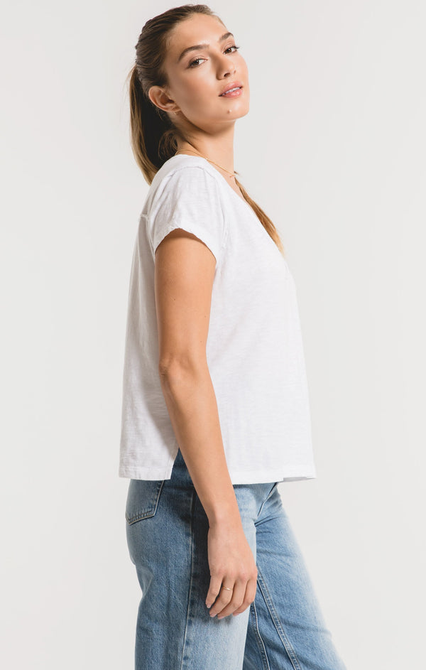 Cotton Slub Easy V-Neck Tee