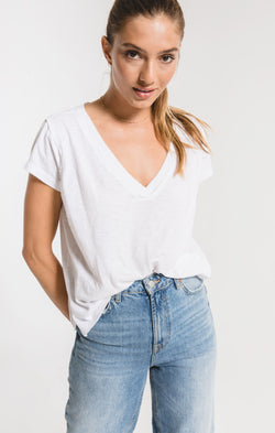 Cotton Slub Easy V-Neck Tee - WHITE / XS ShopatGrace.com