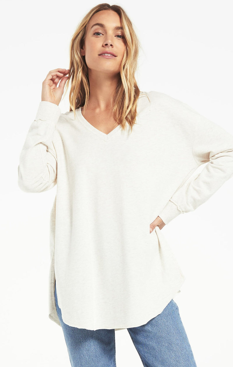 V-Neck Weekender - XS / LIGHT OATMEAL ShopatGrace.com