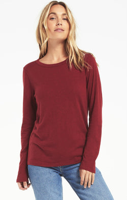 Everyday Brushed Long Sleeve Top - XS / Cabernet ShopatGrace.com
