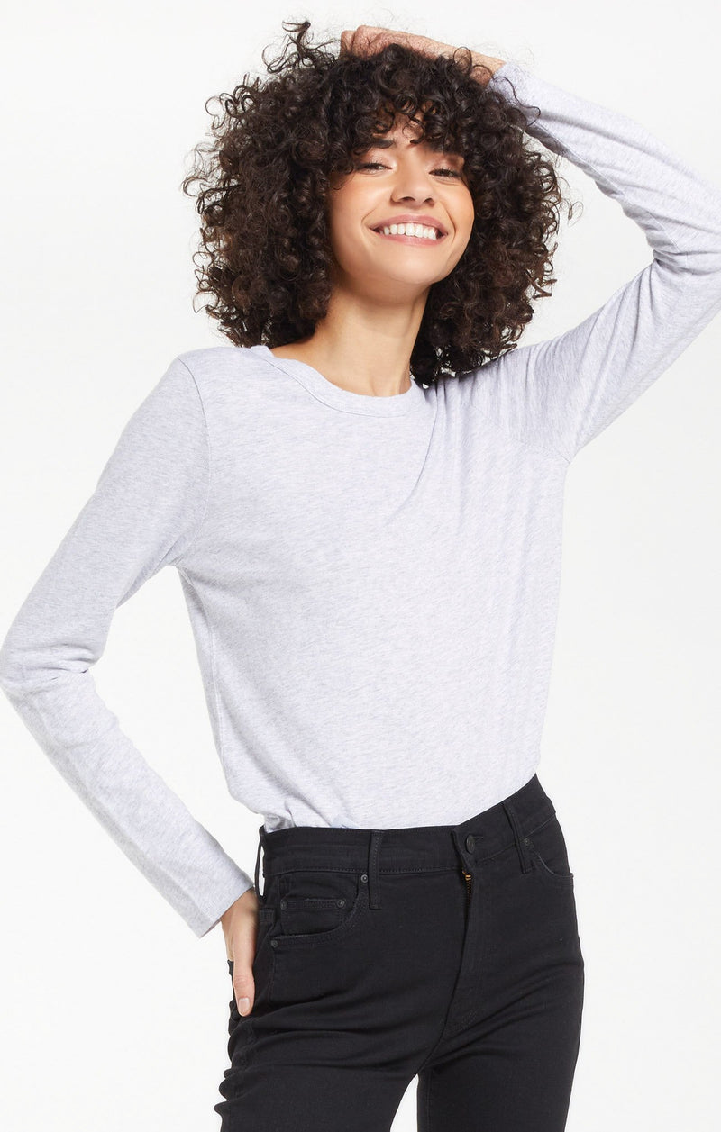 Everyday Brushed Long Sleeve Top - XS / Heather Grey ShopatGrace.com