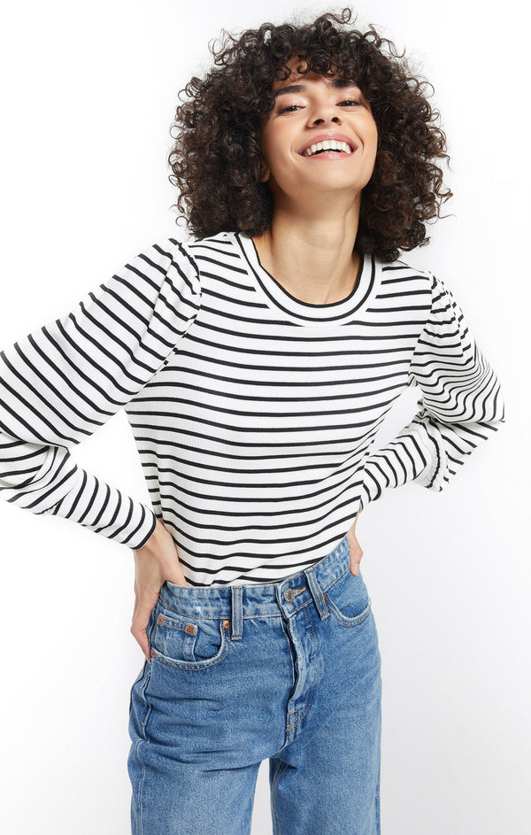 Clemente Striped Puff Sleeve Top -  ShopatGrace.com