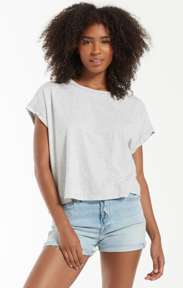 Isla Organic Skimmer Tee - XS / LIGHT HEATHER GREY ShopatGrace.com