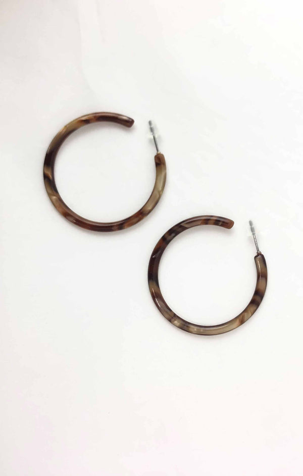 Skinny Autumn Acetate Hoops - Warm Broze ShopatGrace.com