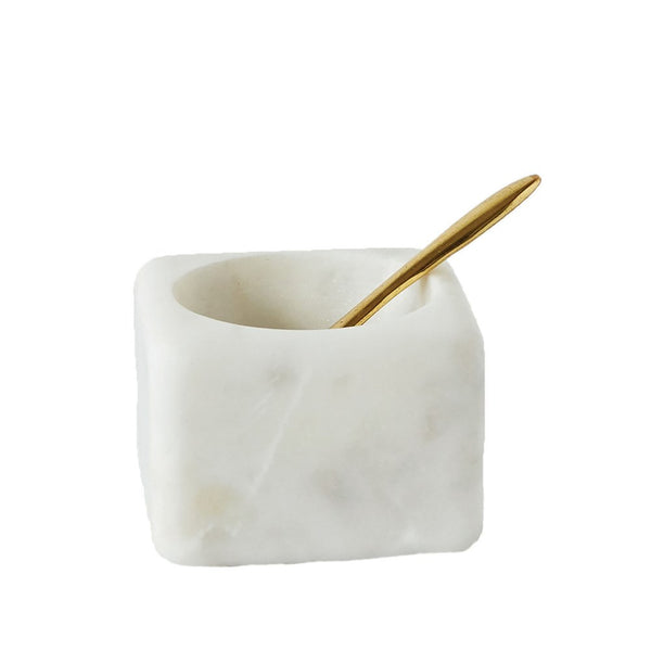 White Marble Bowl w/ Brass Spoon -  ShopatGrace.com