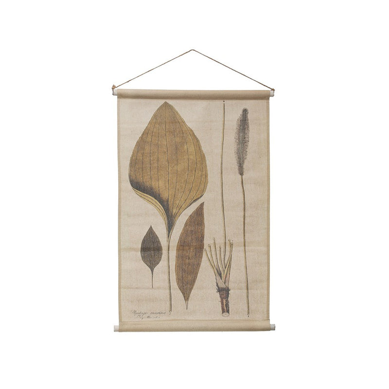 Linen & Wood Wall Scroll w/ Leaves -  ShopatGrace.com