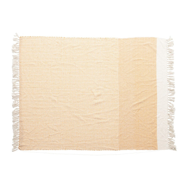 Woven Recycled Cotton Blend Throw w/ Tassels -  ShopatGrace.com