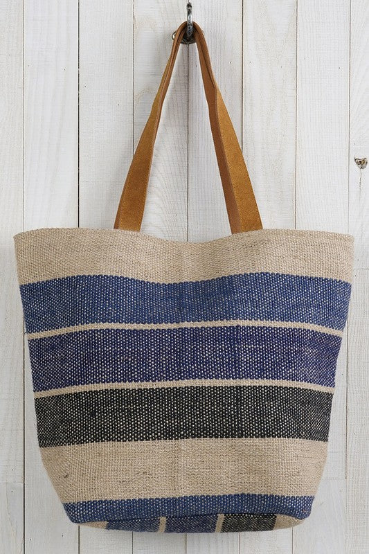 Striped Jute Tote Bag -  ShopatGrace.com