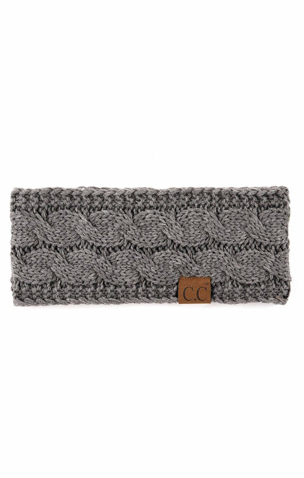 Knit Winter Fleece Lined Headband - LT. MEL GREY / OS ShopatGrace.com