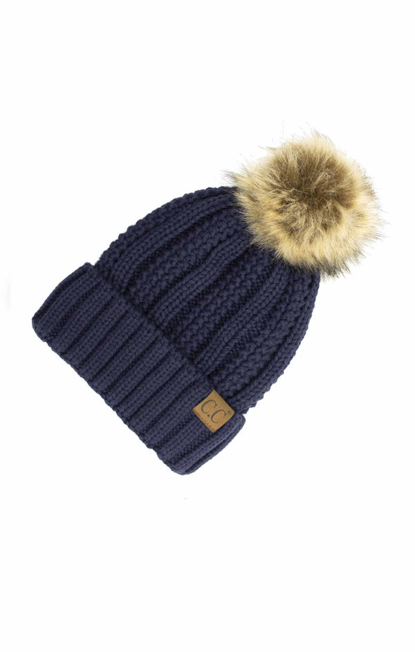 Fleece Lined Faux Fur Pom Pom Beanie - NAVY / OS ShopatGrace.com