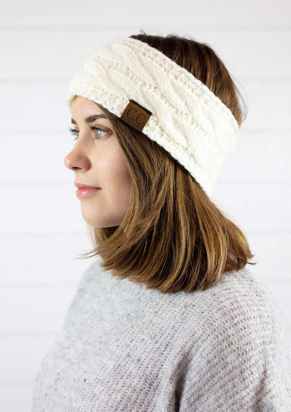 Knit Winter Fleece Lined Headband - IVORY / OS ShopatGrace.com