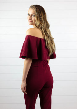womens fitted formal burgundy wine jumpsuit with off the shoulder neckline, flowy sleeve and full length leg