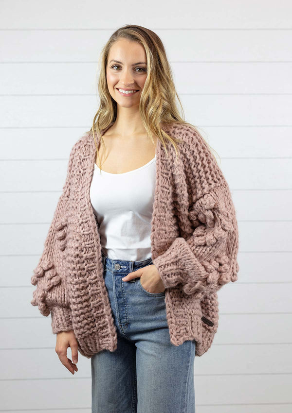 womens chunky knit full sleeve sweatheart detail cardigan with open front