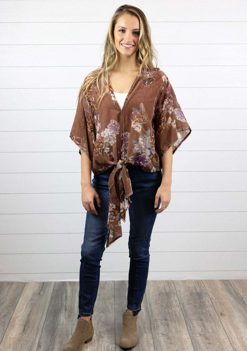 Women's mauve velvet flowy v neck top with tie front