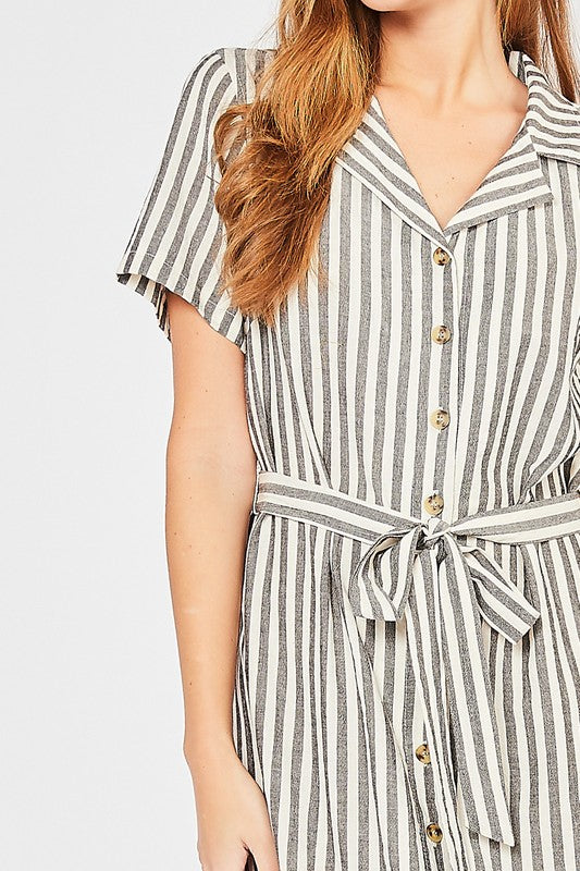 Stripped Button Up Dress