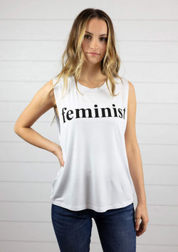 womens lightweight super soft relaxed fit cut off muscle tee feminist
