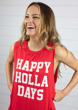 womens lightweight super soft relaxed fit cut off muscle tee happy holla days