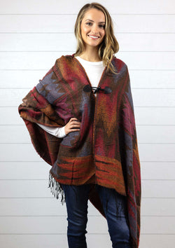 Women's brown Navajo style cape poncho with hood, fringe and toggle closure