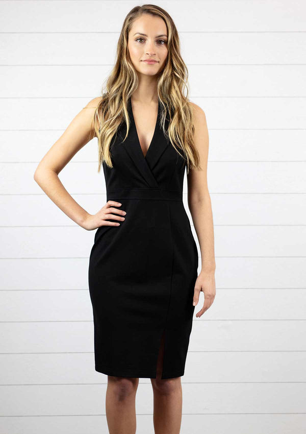 womens little black dress midi knee length with v neck and slight slit on front side and zipper down back