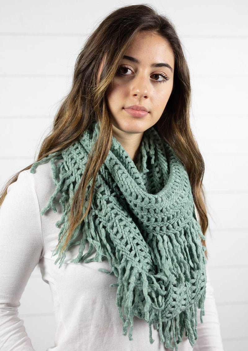 womens fringe knit infinity scarf