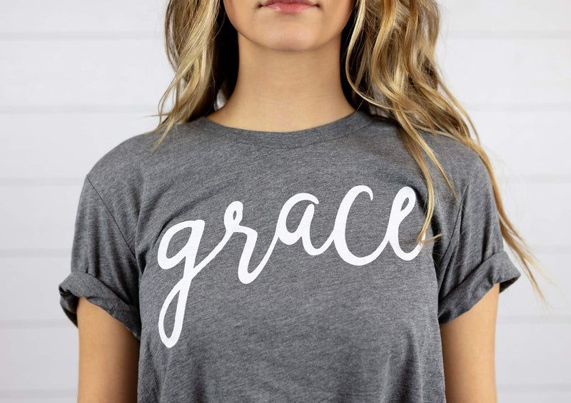 womens classic cotton t shirt with grace logo short sleeve tee relaxed fit