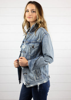 womens distressed denim jacket full length and full sleeve medium wash