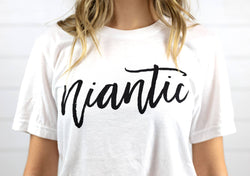 womens classic cotton t shirt with niantic Connecticut logo short sleeve tee relaxed fit
