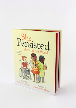 A copy of a book titled She Persisted Around the World