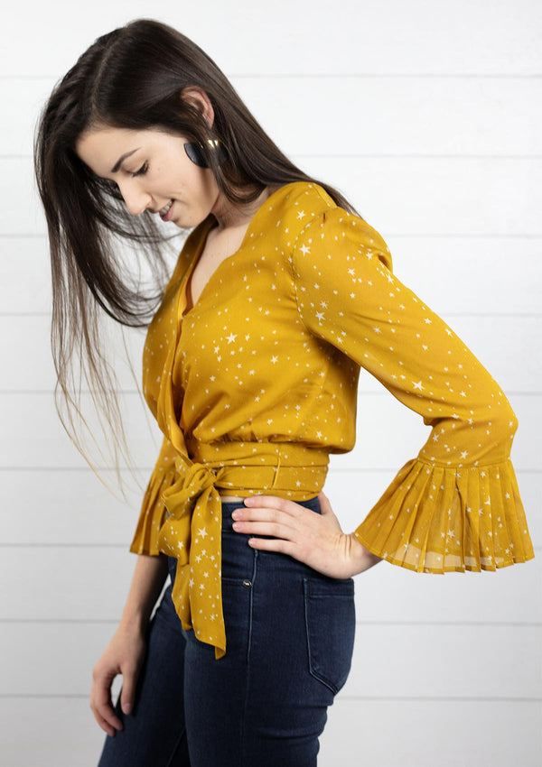 womens mustard ochre yellow star print wrap top with pleated bell sleeve and v neck